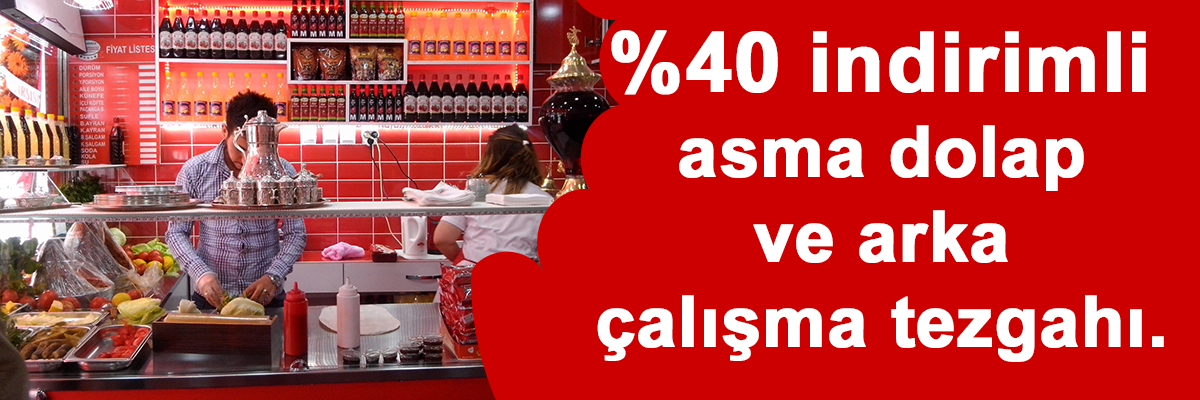 %40 indirimli asma dolap ve arka çalışma tezgahı